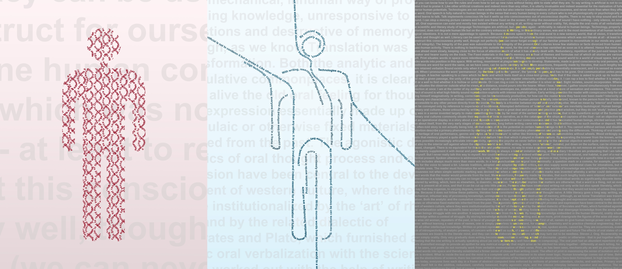 A series of three images. The first is a generic human form filled with red text in a double-helix formation. The background is pale pink with faint gray text. The second image is the same generic human form outlined with strings of blue text that shoot off in different directions. The background is pale blue with faint gray text. The third image is a page of light gray text on a dark gray background. The same generic human form is outlined in yellow highlighted letters. Image by Steven LeMieux.